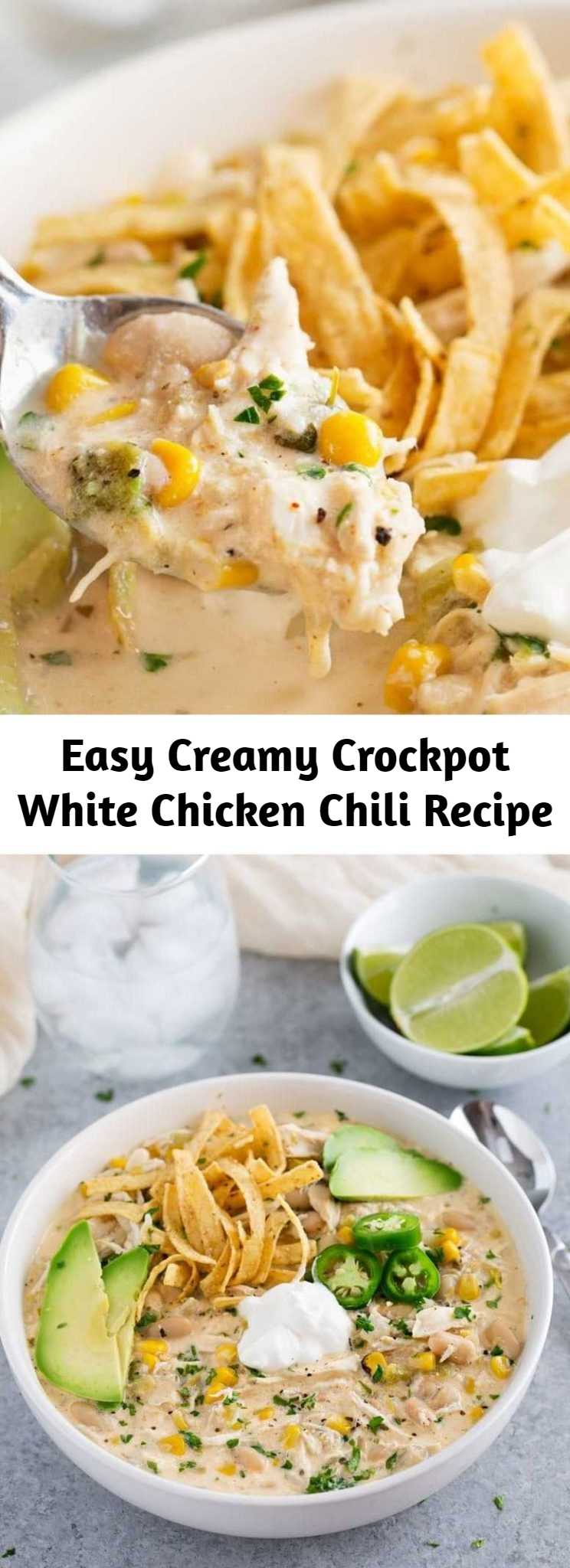 Easy Creamy Crockpot White Chicken Chili Recipe - This creamy white chicken chili is made super easy in your crockpot! Creamy with plenty of spice, it's the perfect companion on a chilly night!