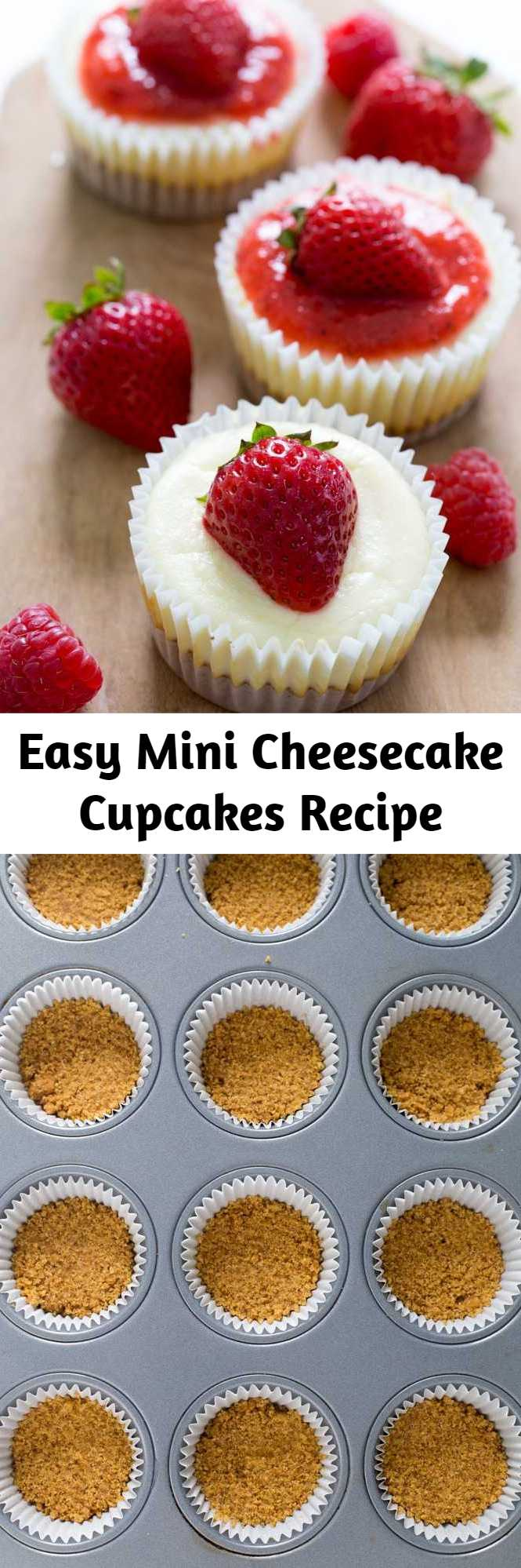 Easy Mini Cheesecake Cupcakes Recipe - Super Easy Mini Cheesecake Cupcakes. Layered with a graham cracker crust and creamy tangy cheesecake. Top with salted caramel sauce, chocolate or strawberry sauce!