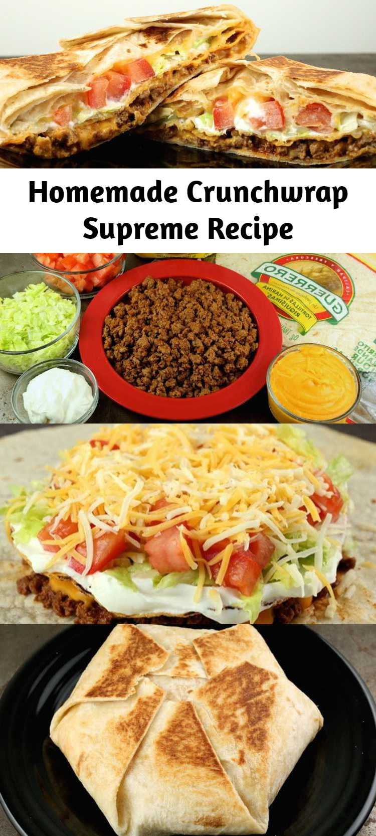 Homemade Crunchwrap Supreme Recipe - You can now make everyone's favorite Taco Bell item, the Crunchwrap Supreme, at home with this easy to follow recipe. Just like the fast-food version, this homemade Crunchwrap Supreme is packed with all the toppings!