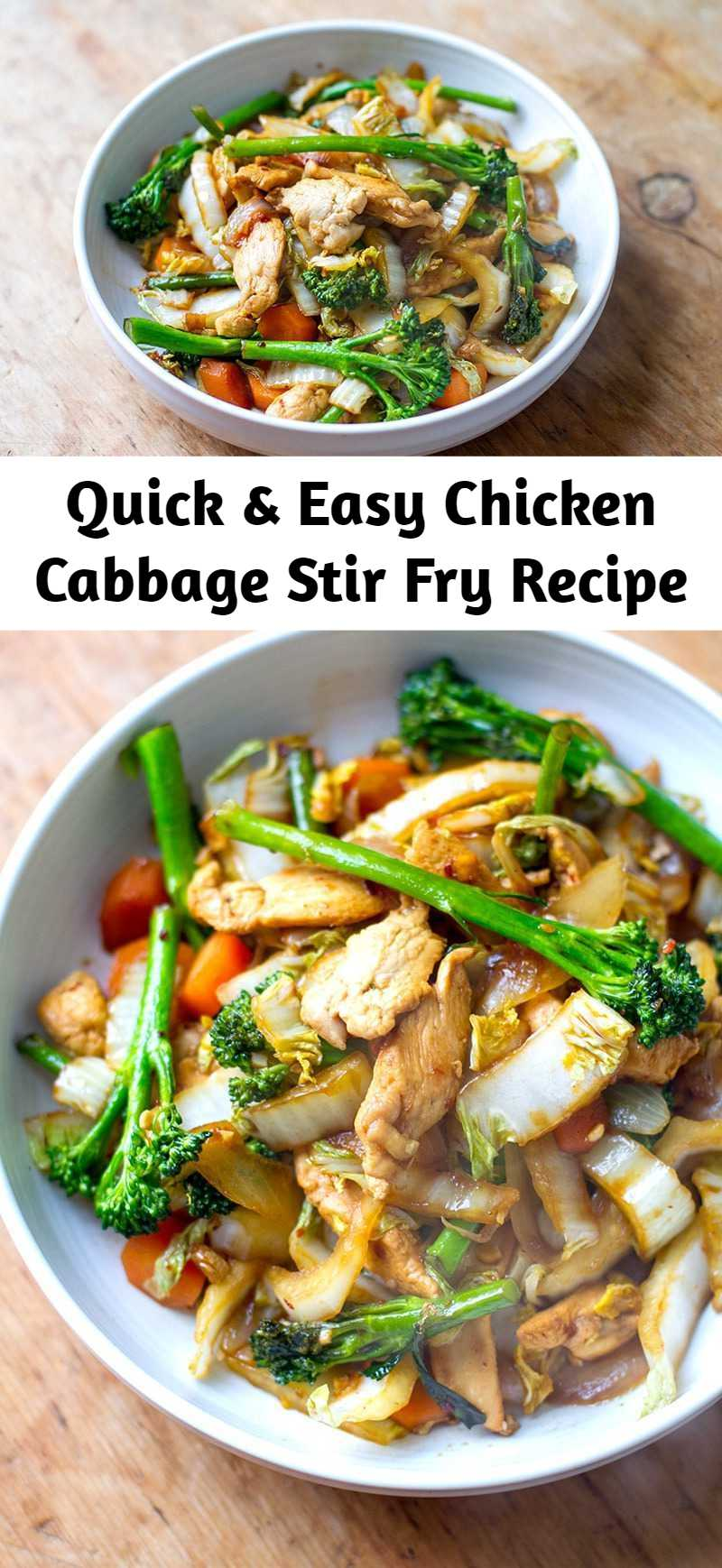 Quick & Easy Chicken Cabbage Stir Fry Recipe - This quick and easy chicken cabbage stir-fry is a great weeknight meal. It's healthy, nutritious, gluten-free, paleo, low-carb and Whole30 friendly.