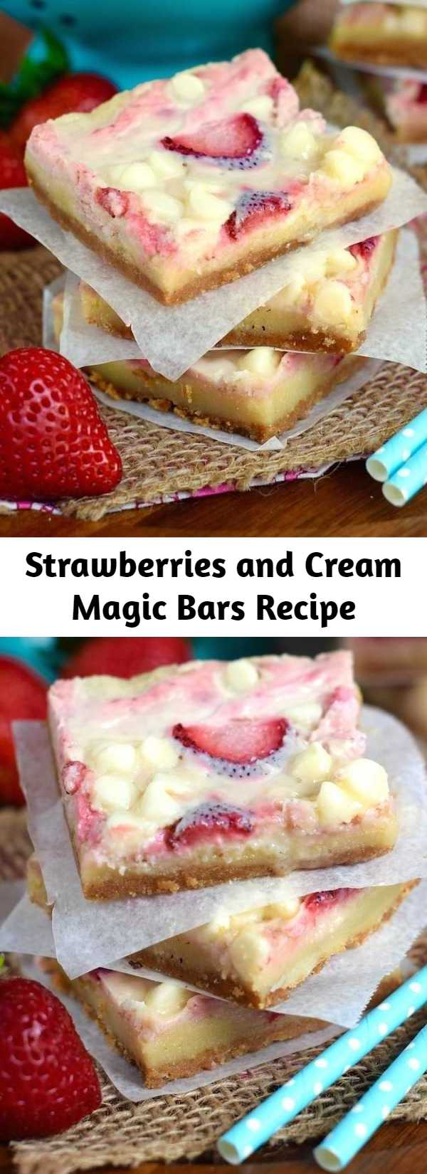 Strawberries and Cream Magic Bars Recipe - These Strawberries and Cream Magic Bars are pure magic.  Made with fresh strawberries and a sugar cookie layer, they are seriously amazing!