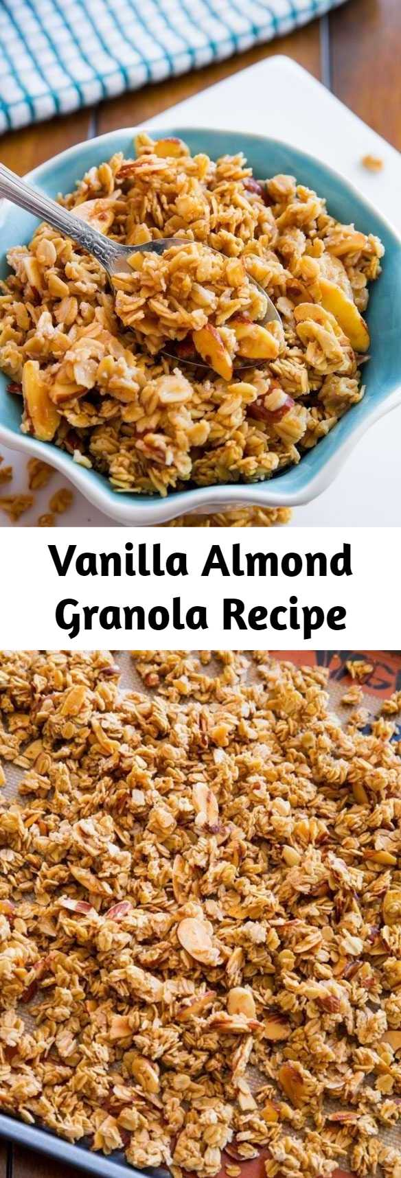 Vanilla Almond Granola Recipe - Sweet, sticky, and crunchy granola exploding with vanilla and almond flavors. Ditch store-bought, healthy homemade granola is easy! This recipe is vegan and gluten free (if using certified GF oats).