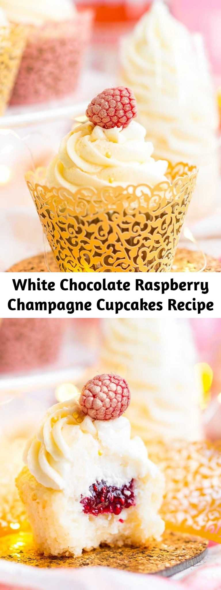 White Chocolate Raspberry Champagne Cupcakes Recipe - These White Chocolate Raspberry Champagne Cupcakes are perfect for New Year's Eve, Bridal and Baby Showers, and Valentine's Day! Light and fluffy white chocolate cake filled with raspberry filling and topped with a luscious champagne buttercream!