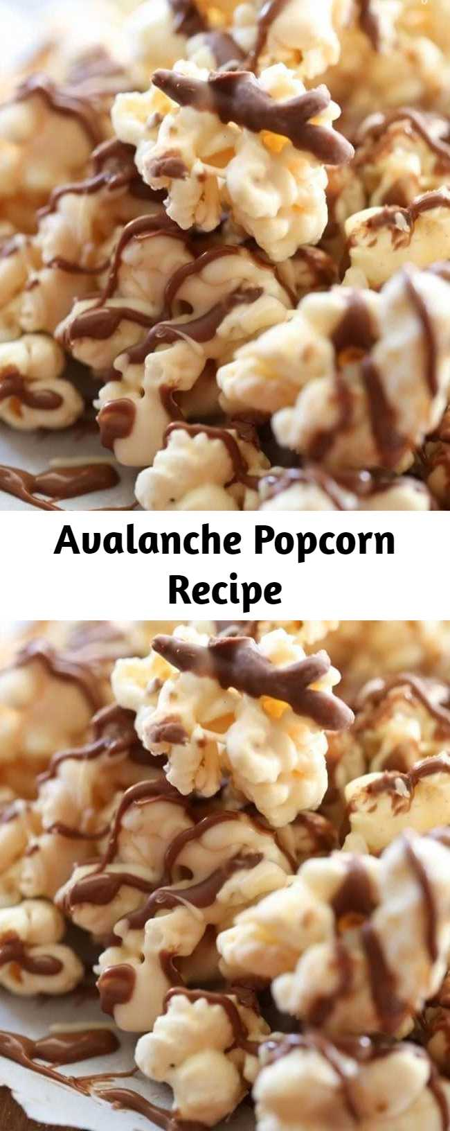 Avalanche Popcorn Recipe - A delicious and addictive snack! Just the right hint of peanut butter and chocolate to make this one popcorn recipe you will want to make over and over again! It is heavenly!