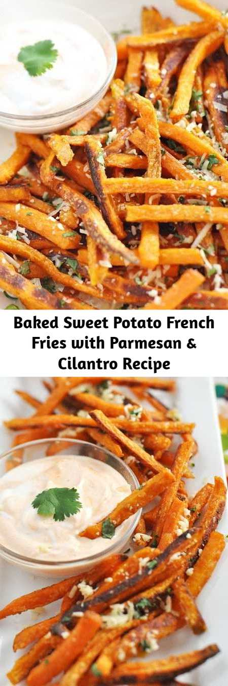 Baked Sweet Potato French Fries with Parmesan & Cilantro Recipe - These sweet potato fries will change your life. I'm serious! They are salty-sweet, crunchy, and spicy if you wish. Baked sweet potato fries have been one of my favorite snacks. These crispy fries beat their fast-food fried Russet cousins in simplicity and ease. They require fewer cooking steps because they're baked rather than fried.