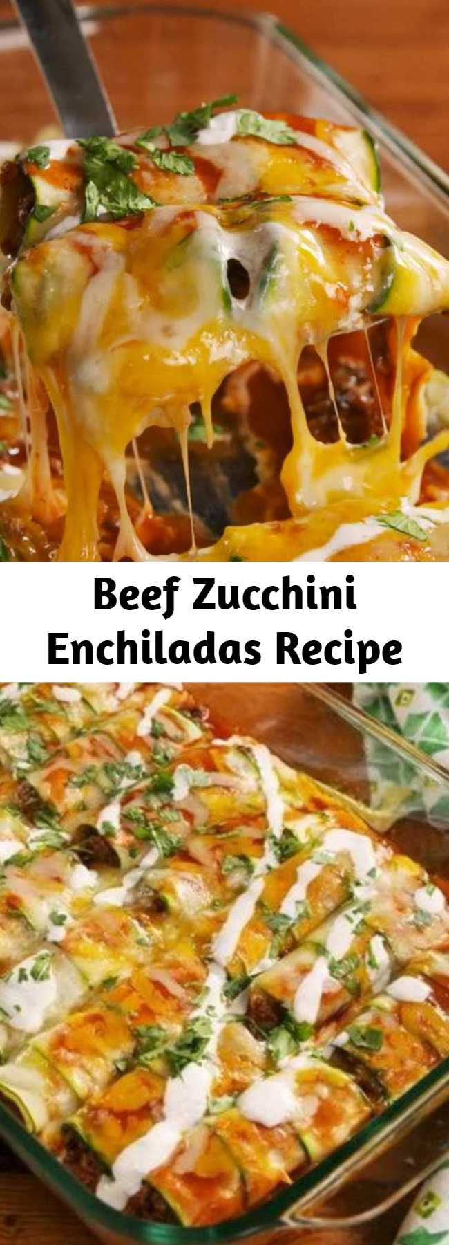 Beef Zucchini Enchiladas Recipe - Zucchini can do it all and these enchiladas prove it! It's much easier to roll up than you would imaging making these so fun to make. #lowcarb #zucchini #healthyenchiladas #healthyrecipes