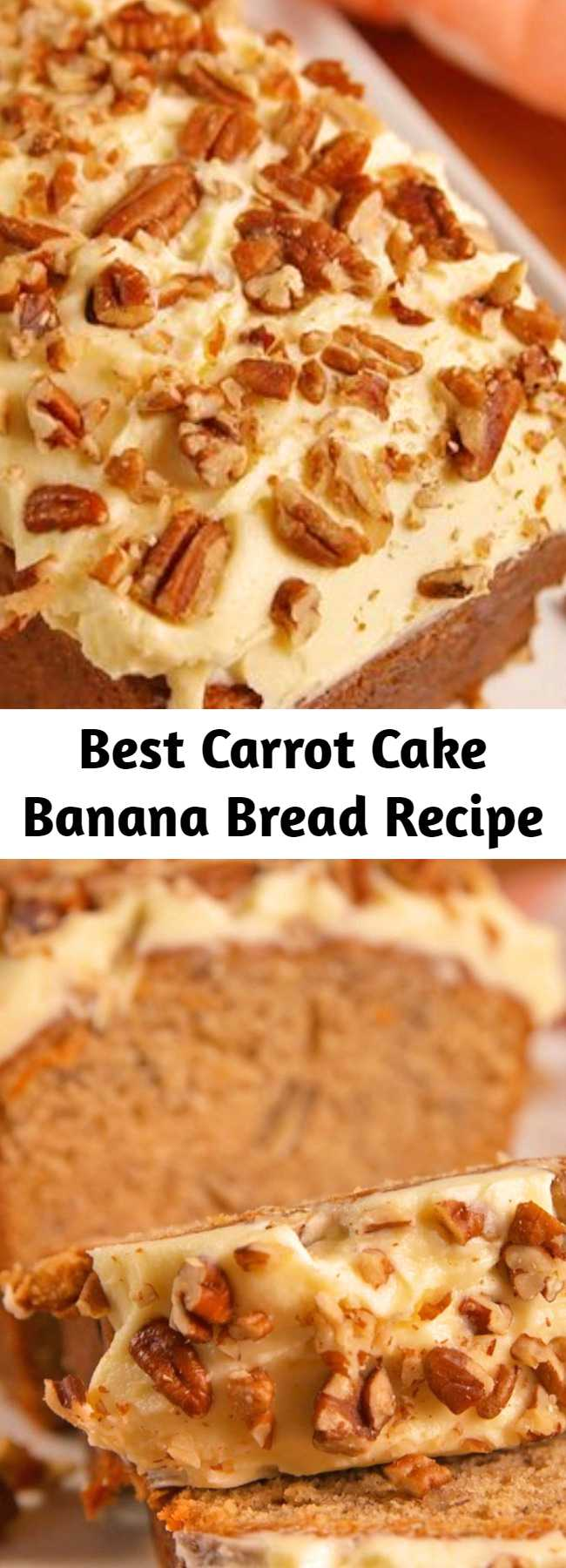 Best Carrot Cake Banana Bread Recipe - Carrot cake banana bread is the best of both baking worlds. #easy #recipe #carrotcake #bananabread #creamcheese #icing #frosting #breakfastrecipes #brunchrecipes #brunch #baking