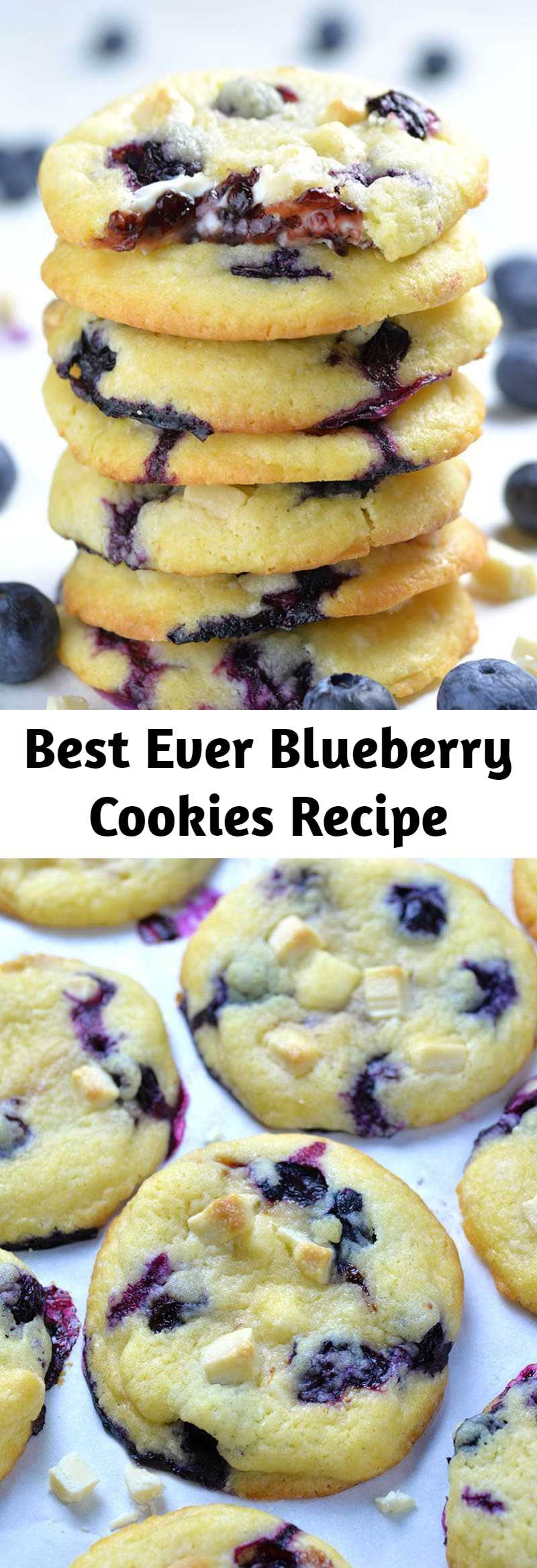 Best Ever Blueberry Cookies Recipe - Soft and chewy Blueberry Cookies with fresh blueberries, white chocolate chunks and gooey cream cheese and blueberry jam filling in the center are really the best blueberry cookies ever. #blueberry #cookies #blueberryrecipe #cookierecipe