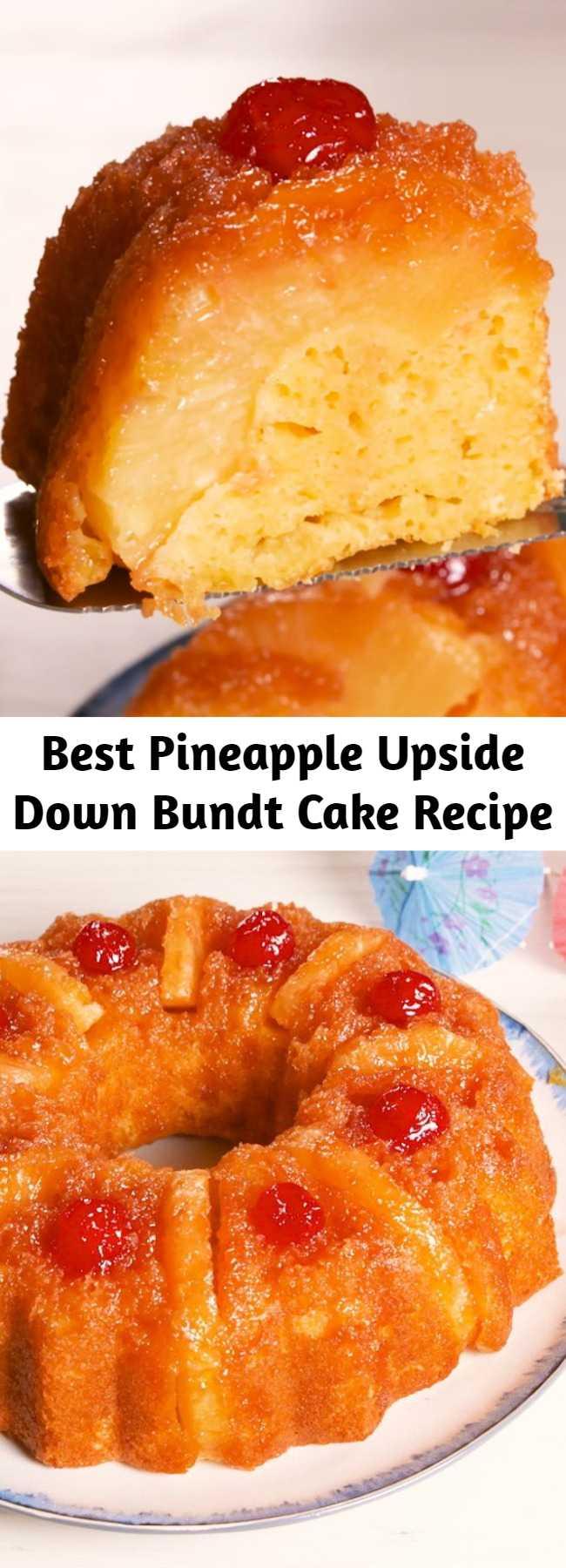 Best Pineapple Upside Down Bundt Cake Recipe - This Pineapple Upside Down Bundt Cake tastes like vacation. Stunning. #pineapple #upsidedowncake #pineapplecake #pineapplejuice #cherries #summertreat