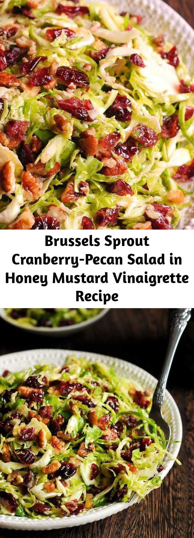 Brussels Sprout Cranberry-Pecan Salad in Honey Mustard Vinaigrette Recipe - This delicious Honey Mustard Brussels Sprout Salad with Cranberries and Pecans is all about crisp, shredded Brussels sprouts tossed with slightly sweet honey mustard vinaigrette, dried cranberries and chopped pecans. Perfect for potlucks or holiday meals, but you may find it to be a perfect complement to your everyday dinner as well. And it's gluten-free! #salad #fall #thanksgiving #holiday #christmas #healthy