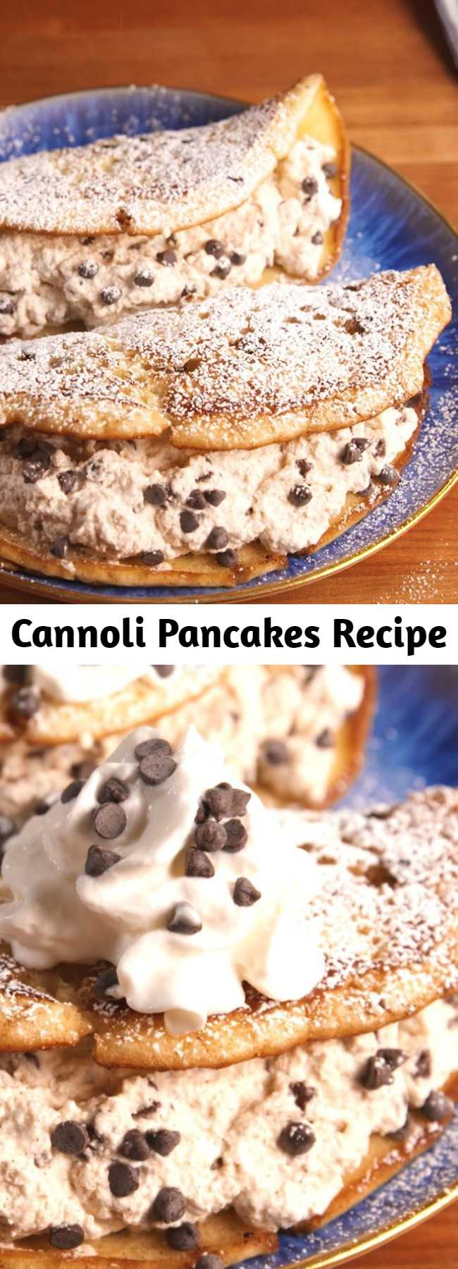 Cannoli Pancakes Recipe - This recipe is the key to getting your cannoli fix before 12 P.M. Dessert for breakfast >>> breakfast for dinner.