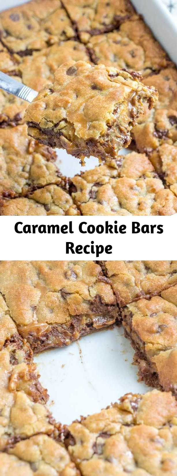 Caramel Cookie Bars Recipe - Delicious Caramel Cookie Bars with an amazing layer of gooey caramel stuffed in better the layers with a hint of peanut butter. These cookie bars are EPIC and you'll never make them anyway again!