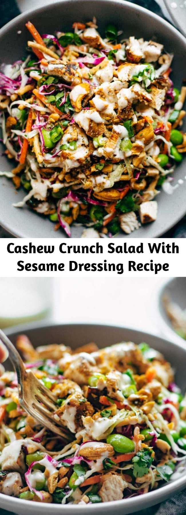 Cashew Crunch Salad With Sesame Dressing Recipe - Cashew Crunch Salad with Sesame Dressing – this is the healthy summer recipe that makes me ACTUALLY WANT TO EAT A SALAD. #healthy #summer #healthysummerrecipe #salad #cashew