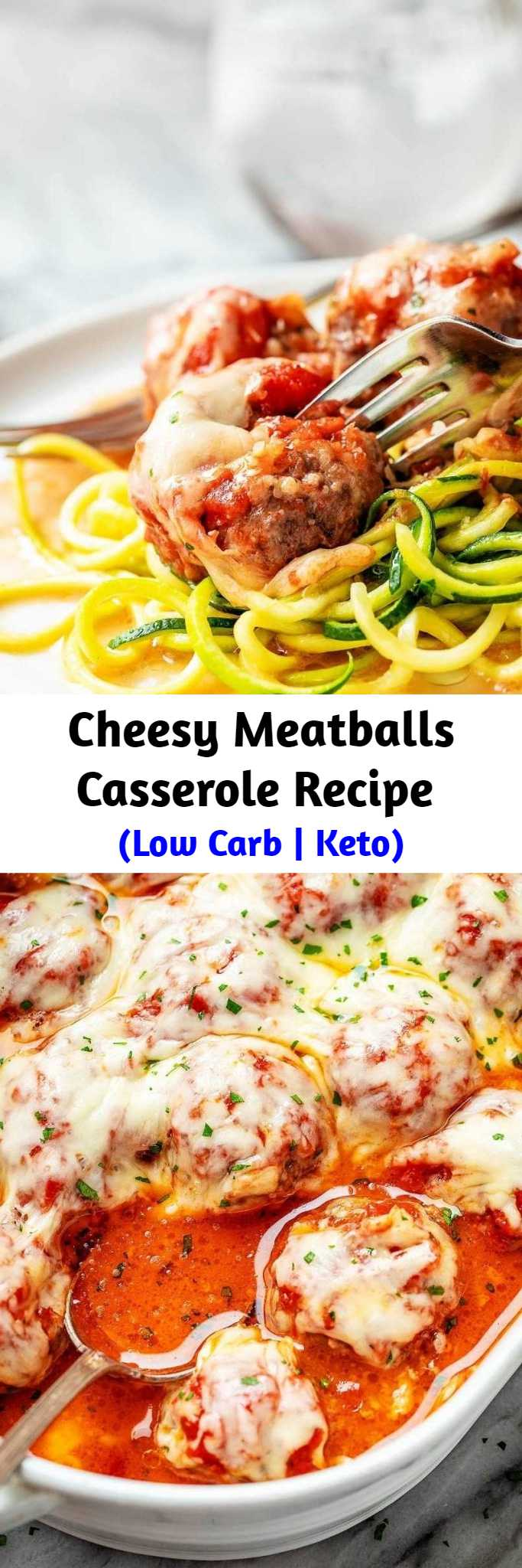 Cheesy Meatballs Casserole Recipe (Low Carb   Keto) - Looking for a great low carb dinner option? This low carb turkey meatball casserole recipe is absolutely fabulous. #lowcarb #meatballs #recipe