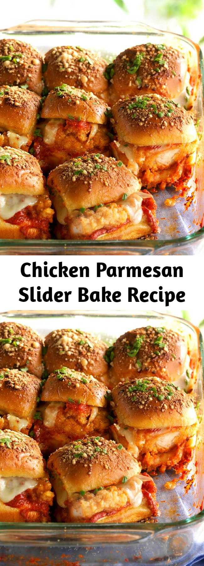 Chicken Parmesan Slider Bake Recipe - Sliders are the perfect finger food for any get-together, and this flavorful chicken Parmesan version won't disappoint.