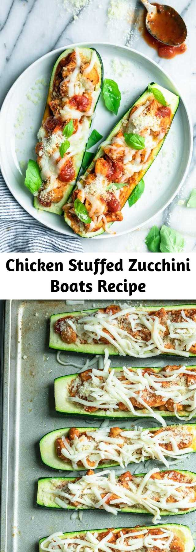 Chicken Stuffed Zucchini Boats Recipe - These Stuffed zucchini boats are easy, Keto friendly and low carb. Stuffed with chicken, marinara and topped with cheese, they make a quick and easy meal. #whole30 #keto #lowcarb #dinner #healthy