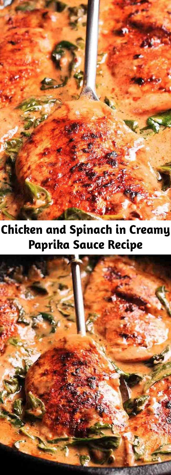 Chicken and Spinach in Creamy Paprika Sauce Recipe - Chicken and Spinach in Creamy Paprika Sauce is an amazing one-pan dish with an amazing flavor from white wine and mild tang from the fresh lemon juice.