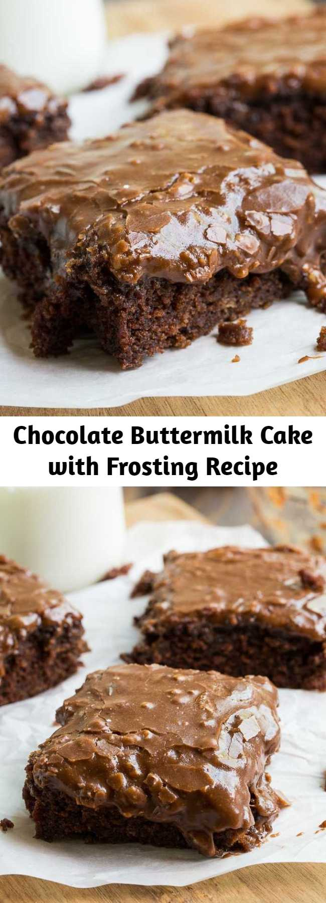 Chocolate Buttermilk Cake with Frosting Recipe - A moist and chocolaty buttermilk cake topped with a sweet and fudgy chocolate buttermilk frosting with pecans. A simple, old-fashioned dessert that never goes out of style because it's so darn good.