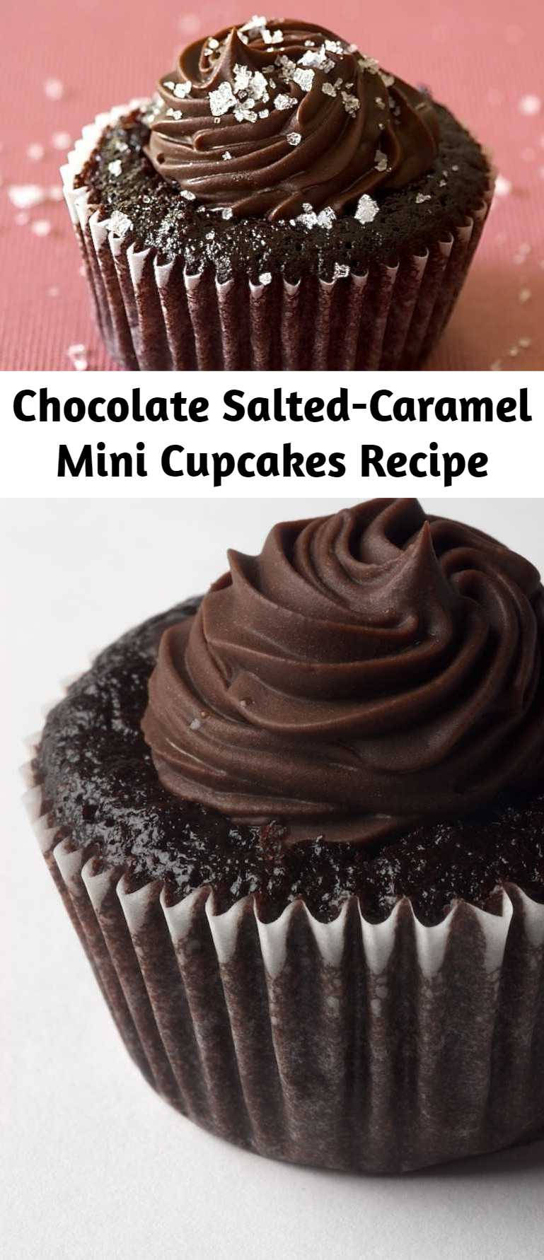 Chocolate Salted-Caramel Mini Cupcakes Recipe - The chocolate cupcakes topped off with that dark chocolate frosting would be enough. Add in the salted caramel filling, and these cupcakes are transformed into something fantastic. They are a bit labor-intensive, but trust me when I say that they are worth every minute.