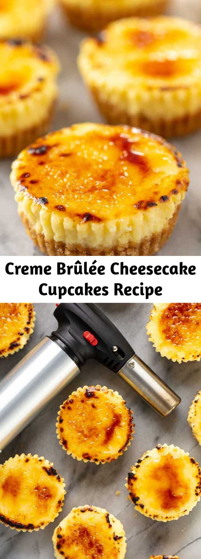 Creme Brûlée Cheesecake Cupcakes Recipe - All of the delicious flavors of creme brûlée in an easy to make mini cheesecake cupcake. You'll love these delicious little single serve desserts! #cheesecake #dessertrecipe
