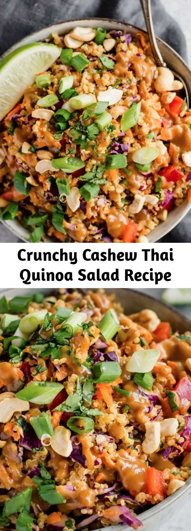 Crunchy Cashew Thai Quinoa Salad Recipe - Delicious vegan and easily gluten-free salad with Thai flavors and a perfect crunch. It's even better the next day! #veganrecipe #veganfood #thaifood #vegetarian #plantbased #healthylunch #lunchideas #mealprep #mealprepping #glutenfree #glutenfreerecipes