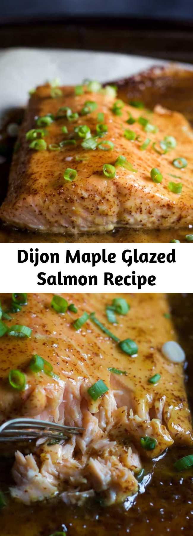 Dijon Maple Glazed Salmon Recipe - Dijon Maple Glazed Salmon is one of my favorite quick & healthy dinner recipes. It's full of tangy and sweet flavors from only 3 ingredients with a whooping 218 calories per serving!