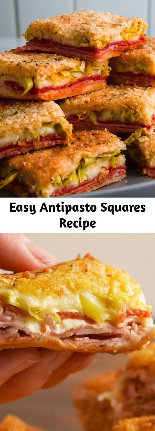 Easy Antipasto Squares Recipe - Turns out an antipasto salad like this gets even better when you layer it between crescent sheets and we aren't mad about that at all. #easy #recipe #antipasto #pizza #squares #bites #superbowlrecipe #superbowl #gameday #appetizer #snack #cheese #crescentroll #easyrecipes #mozzarella #provolone #pepperoni #ham #peppers