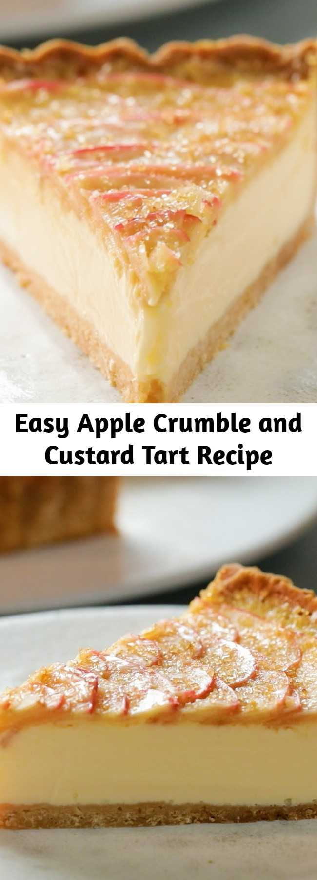 Easy Apple Crumble and Custard Tart Recipe - Ever wondered what an apple crumble tart would taste like with a custard filling? This easy recipe will become your best go-to dessert for any occasion, summer and fall alike.