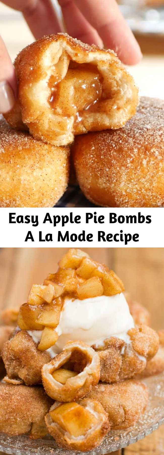 Easy Apple Pie Bombs A La Mode Recipe - It's not fall until you've made apple pie bombs a la mode with creamy vanilla ice cream and those glazed apples all over the tops. I love fall dessert recipes!
