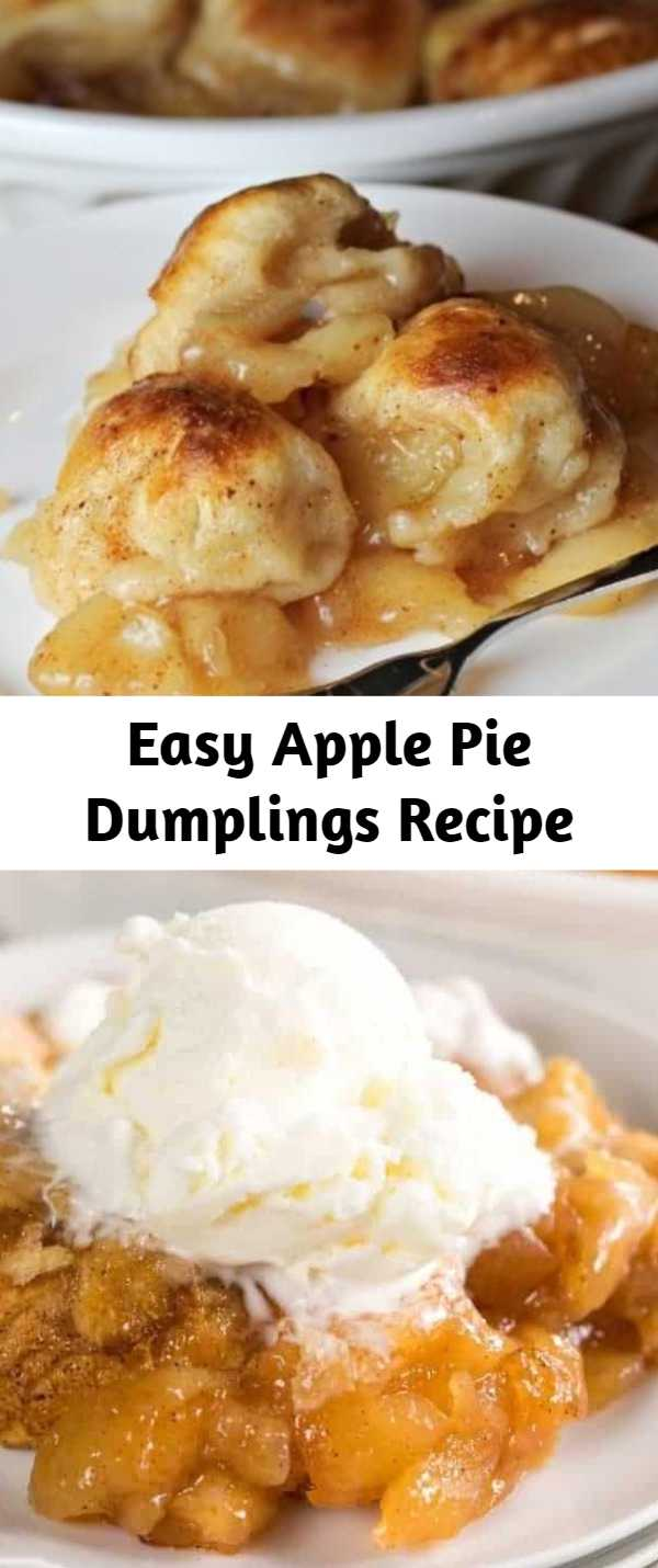 Easy Apple Pie Dumplings Recipe - Apple Pie Dumplings made with just two easy ingredients! Simply add them to a baking dish and cook until tender and lightly browned. Serve these dumplings warm out of the oven with a big scoop of vanilla ice cream or a drizzle of heavy cream.
