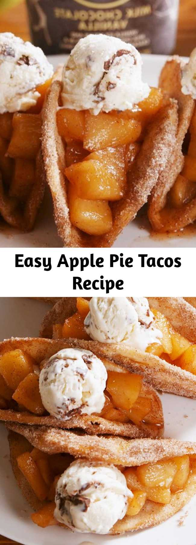 Easy Apple Pie Tacos Recipe - Don't be intimidated by the frying! It's actually easy. Once the tortilla hits the hot oil, it crisps up and keeps it shape quickly. Just know you'll need to use your tongs pretty much the whole time. #applepie #desserttacos #applepierecipes #apple #cinnamon #fruitdesserts #vanillaicecream