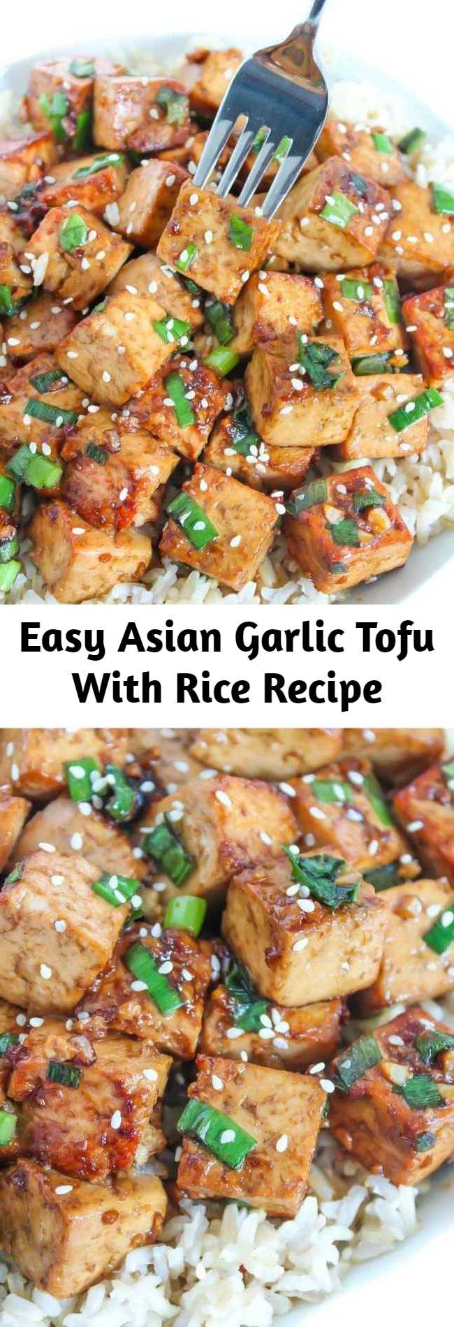 Easy Asian Garlic Tofu With Rice Recipe - Tofu marinated in an Asian-style garlic sauce that's packed with savory, delicious flavor! An easy dish that's perfect with a side of rice & steamed veggies. (vegan, gluten-free)