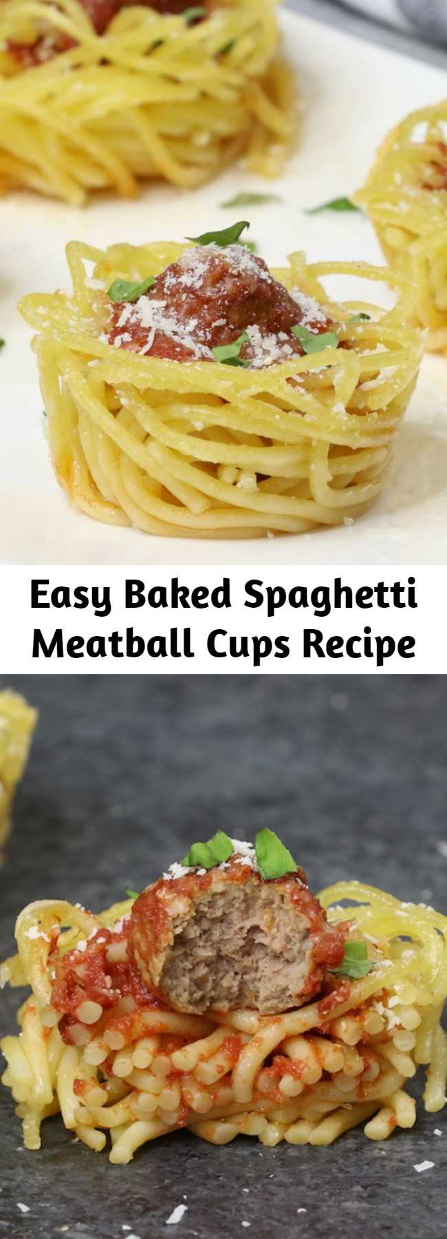 Easy Baked Spaghetti Meatball Cups Recipe - Baked Spaghetti and Meatball Cups are a flavorful bite-size appetizer that's fun to make and share, plus they're a fabulous way to use up leftover spaghetti. All you need is some pasta sauce, meatballs, parmesan cheese and an optional egg to hold them together. Easy to make ahead of time for a party.