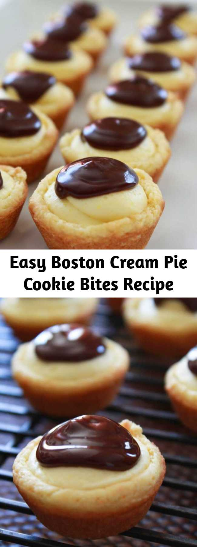 Easy Boston Cream Pie Cookie Bites Recipe - All of the awesome flavors you love from the traditional Boston Cream Pie are turned into a cookie cup.  They are quick to make, starting with a cake mix and taste delicious.  Everyone will go crazy for these little cuties.
