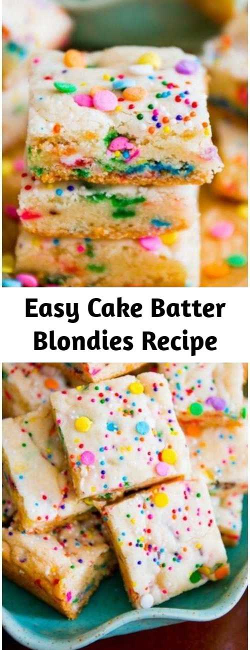 Easy Cake Batter Blondies Recipe - If you like the taste of cake batter, you will love these blondies! No mixer, 1 bowl, 30 minutes.