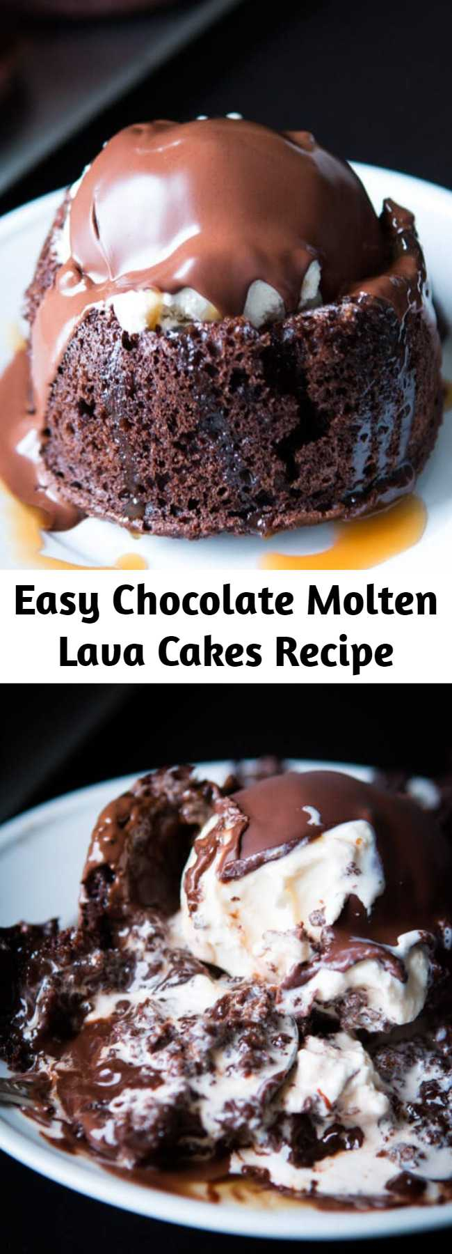 Easy Chocolate Molten Lava Cakes Recipe - Homemade molten lava cakes are way easier to make than you'd think, and that hot fudge oozing out is such a crowd pleaser! Don't forget to serve with a scoop of ice cream!