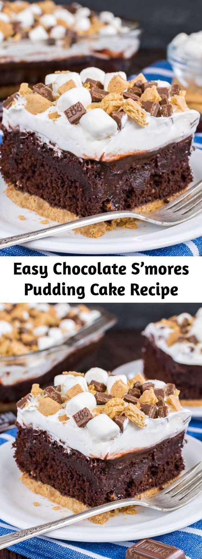 Easy Chocolate S'mores Pudding Cake Recipe - A graham cracker crust, chocolate pudding, and a marshmallow topping make this Chocolate S'mores Pudding Cake the perfect summer dessert.