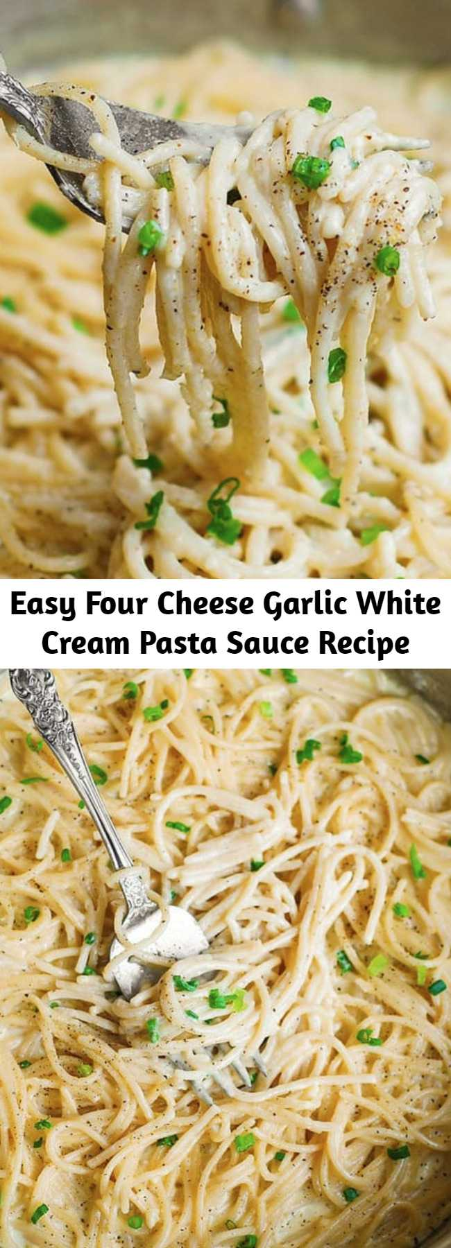 Easy Four Cheese Garlic White Cream Pasta Sauce Recipe - Simple ingredients, easy cooking instructions.  This Creamy Garlic Spaghetti Sauce uses the 4-cheese blend which includes Mozzarella, White Cheddar, Provolone, Asiago cheeses.  This white cheese creamy pasta can be served as is, as side dish, or with grilled meats and veggies.  Super versatile and easy-to-make!