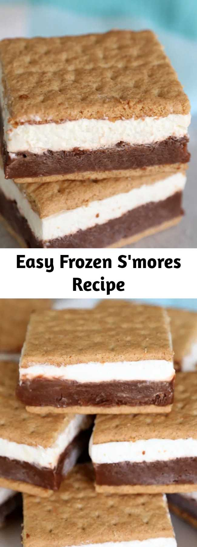 Easy Frozen S'mores Recipe - Layers of chocolate pudding and marshmallow creme make these frozen s'mores the best way to enjoy a s'more on a hot summer day! #smores