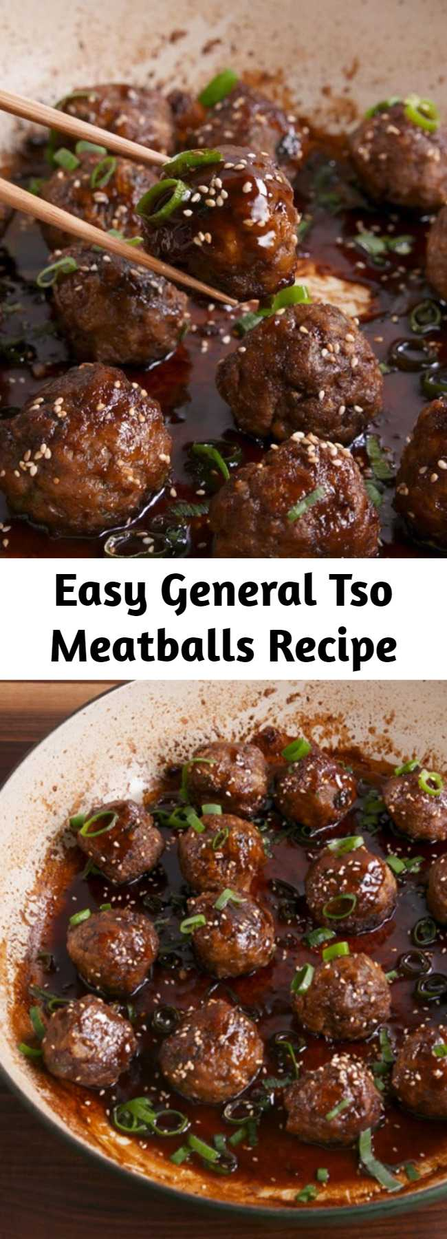 Easy General Tso Meatballs Recipe - Skip the takeout and create your own version as a meatball. #recipe #easyrecipe #easy #easydinner #dinner #dinnerrecipes #meatballs #beef #groundbeef #chinese #chinesefood