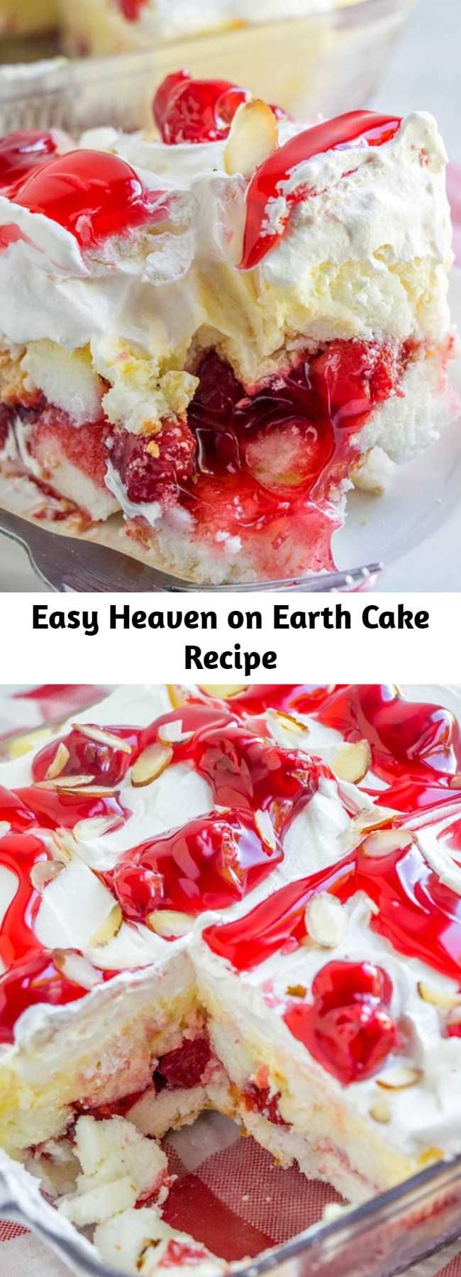 Easy Heaven on Earth Cake Recipe - Heaven on Earth Cake with delicious layers of angel cake, sour cream pudding, cherry pie filling, whipped topping, and almonds. Creamy and decadent, this cherry trifle is a sure crowd pleaser! #dessert #nobake #iceboxcake #triflecake #refrigeratorcake #cherries #easyrecipe #sweets