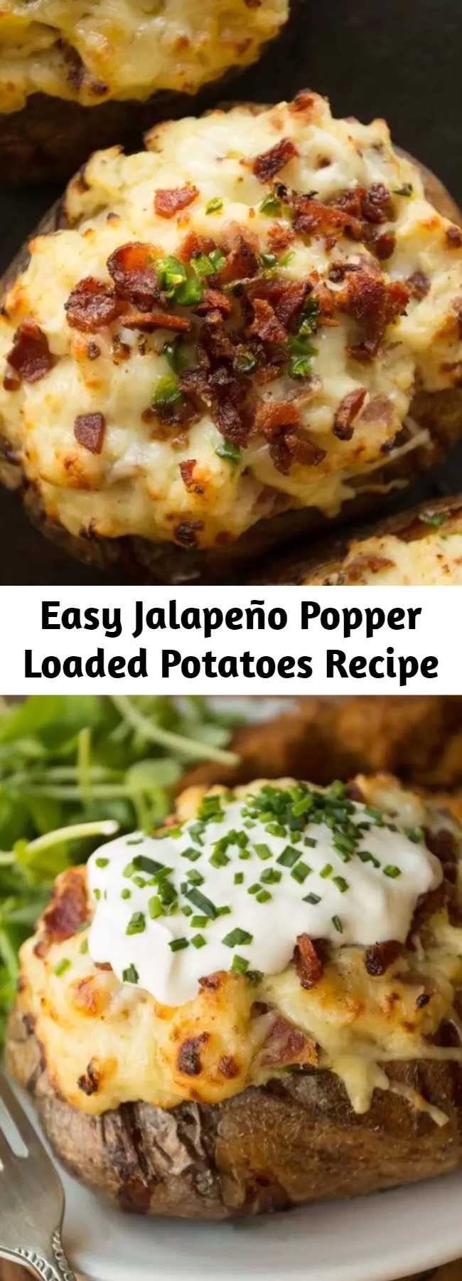 Easy Jalapeño Popper Loaded Potatoes Recipe - When two worlds collide - Twice Baked Potatoes loaded with a creamy dreamy Jalapeño Popper filling. Food comas have never been more delicious! #jalapeno #jalapenopopper #potato #bakedpotato #loadedpotato