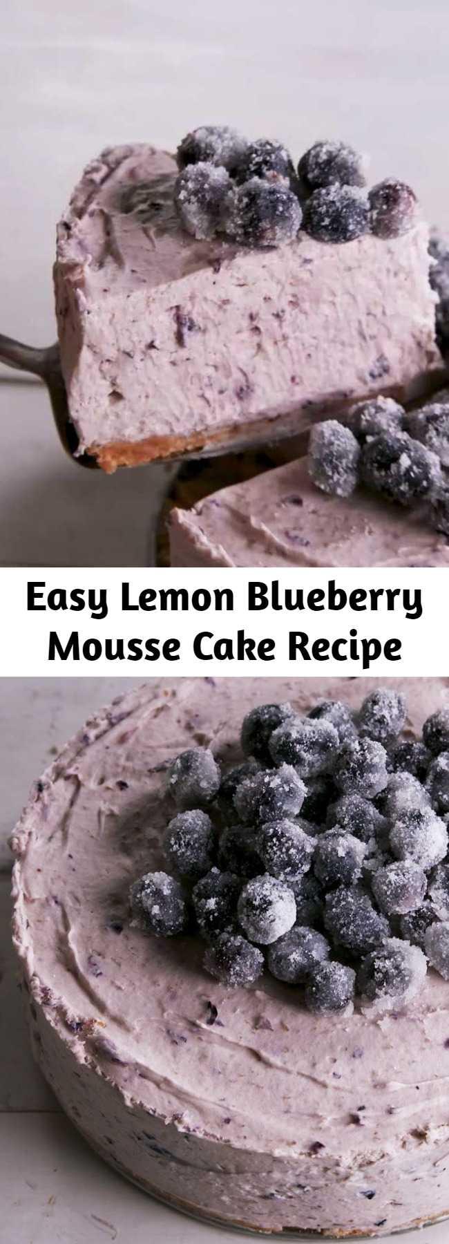Easy Lemon Blueberry Mousse Cake Recipe - When life gives you lemons, don't make lemonade. his lemon blueberry mousse cake is the spring showstopper you've been looking for. #easy #recipe #lemon #blueberry #mousse #Moussecake #baking