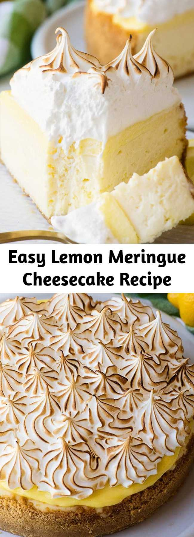 Easy Lemon Meringue Cheesecake Recipe - This Lemon meringue pie cheesecake is decadent and rich – a lemon cheesecake with a ribbon of homemade lemon curd running through the middle, another layer of lemon curd spread across the top. Baked in a Lemon cookie crumb crust and topped with a fluffy toasted meringue every bite is amazing. #dessert #holidayrecipes #Lemonmeringue #cheesecake #partytreats