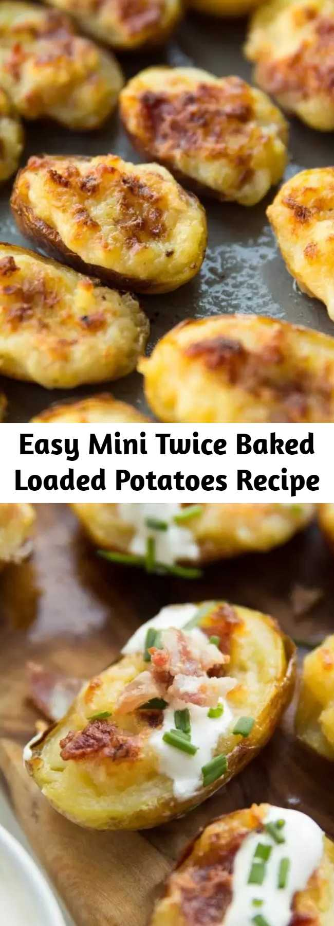 Easy Mini Twice Baked Loaded Potatoes Recipe - These Mini Twice Baked Potatoes are loaded with bacon and served with sour cream and fresh chives. Say hello to your new favourite finger food! #cheese #bacon #potato #loadedpotatoes