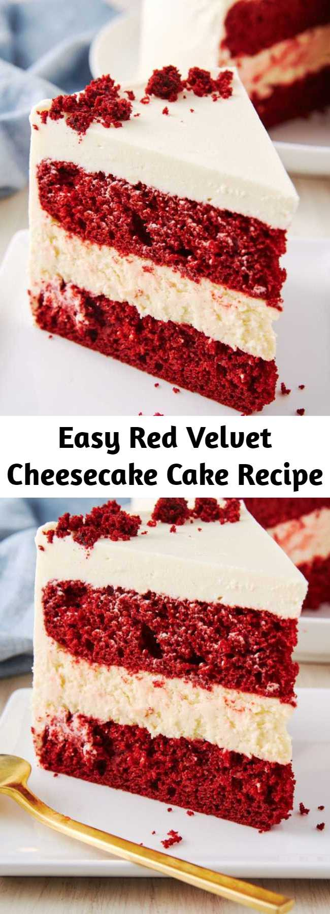 Easy Red Velvet Cheesecake Cake Recipe - Nothing screams Christmas dessert like red velvet cake. We made it even crazier by layering two cakes between a thick layer of plain cheesecake. #easy #recipe #redvelvet #cheesecake #cake #baking #desserts #holidays #christmas #menuideas #creamcheese #frosting