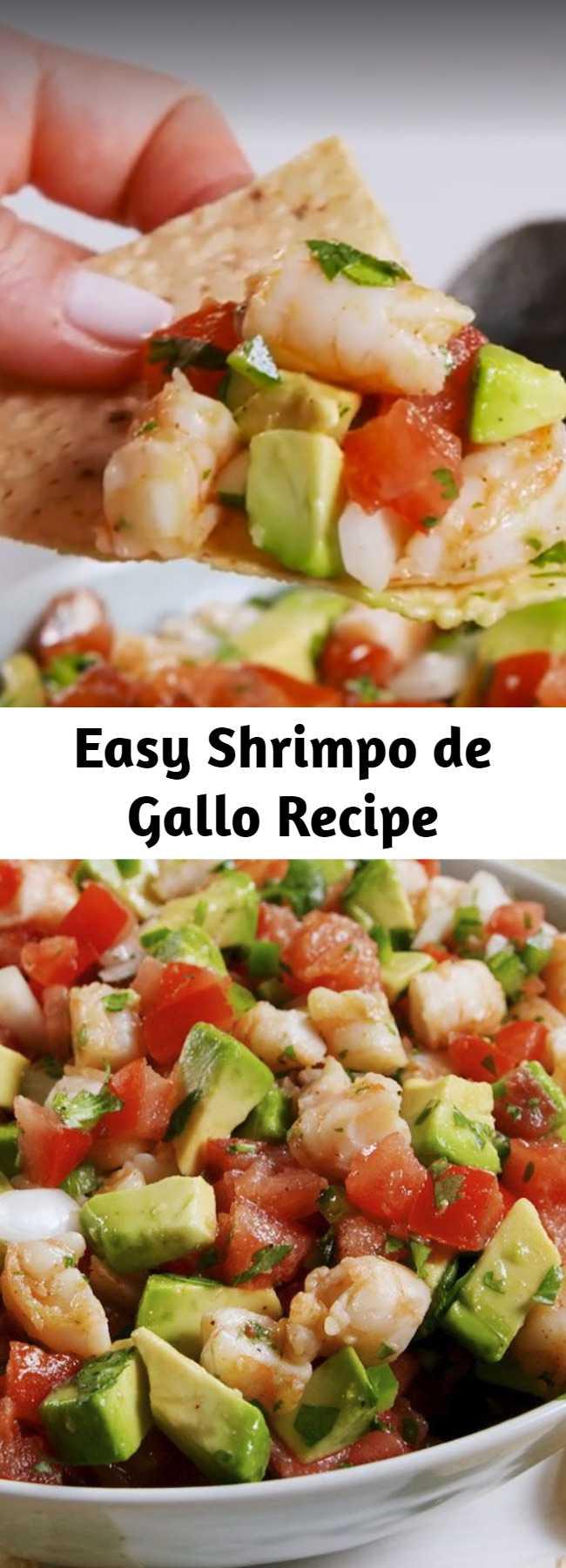 Easy Shrimpo de Gallo Recipe - Once you try this Shrimpo de Gallo, you'll never go back to pico. #shrimp #tomato #avocado #dip #partyapps #fiesta #seafoodappetizers