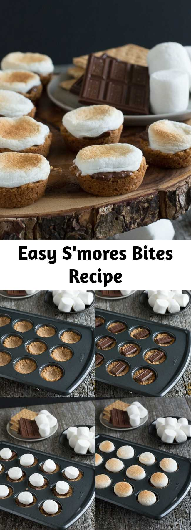 Easy S'mores Bites Recipe - An easy S'mores recipe and one of our favorite desserts to make all year round. S'mores Bites are a twist on the classic s'mores dessert, make these little S'mores Bites in the oven! #smores #smoresbites #indoorsmores #muffinpansmores