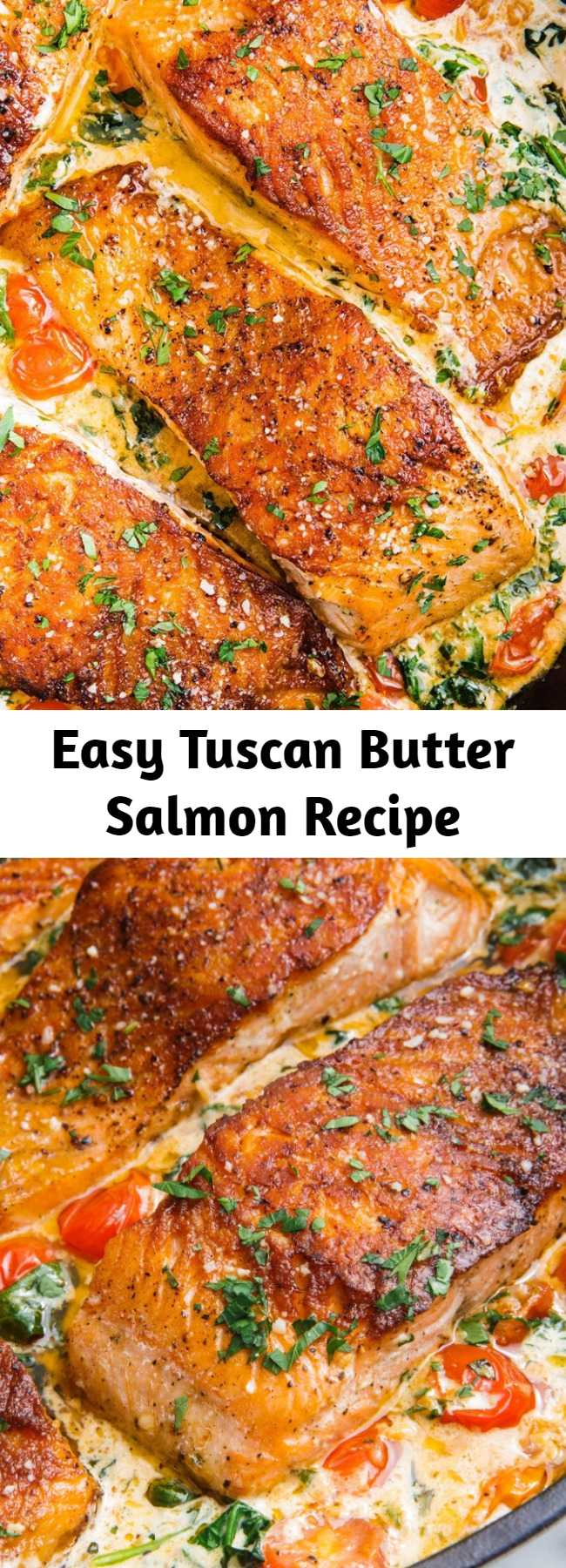 Easy Tuscan Butter Salmon Recipe - There's a reason this is one of our most popular recipes of all time. The tomato-and-basil cream sauce with Parmesan is unbelievably dreamy. We make it often for friends and family because we love it so much. #healthyrecipes #easyrecipes #weeknightdinners #salmon #tuscanbuttersalmon