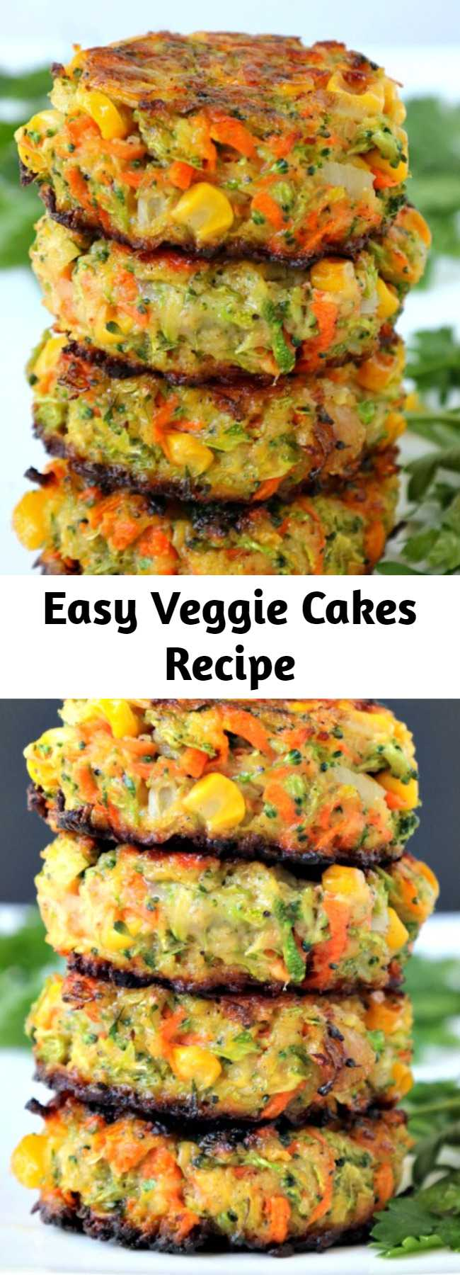 Easy Veggie Cakes Recipe - Crispy, easy veggie cakes made with grated vegetables – carrots, zucchini, broccoli and corn. Great for lunches, side dish or your small picky eaters. Fluffy Vegetable Cakes perfect for a side or a Meatless Monday meal. #vegetablefritters #veggiecakes #vegetablecake